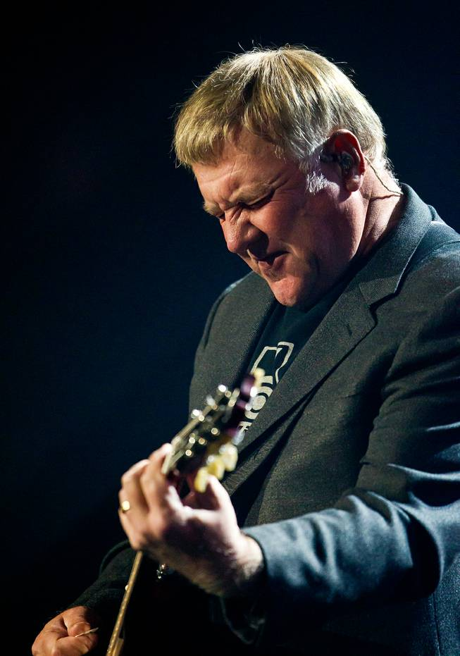 Guitarist Alex Lifeson of Rush performs for a packed house during their concert at MGM Grand Garden Arena on Saturday, July 25, 2015.
