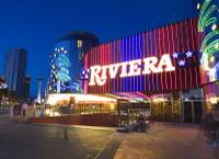 Lights are shown on the Riviera facade Sunday, May 3, 2015, before the casino closed.