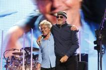 "In this April 15, 2015, photo, Roger Daltrey and Pete Townshend perform with The Who at the tour opener of ""The Who Hits 50! U.S. Tour"" at Amalie Arena in Tampa, Fla. Kanye West, Sam Smith, Janet Jackson and The Who are some of the A-Listers set for the iHeartRadio Music Festival from Sept. 18-19 at MGM Grand Garden Arena."