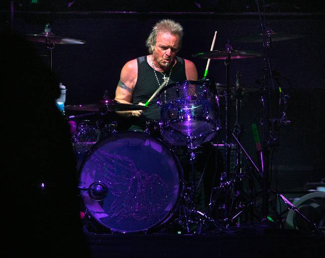 Aerosmith percussionist Joey Kramer drums Saturday, Aug. 1, 2015, at MGM Grand Garden Arena.