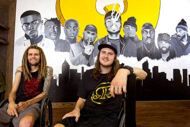 Business owner Austin Cogar, left, and Connor Morris pose at the Recognizing Real skate shop and recording studio, 845 W Craig Rd, in North Las Vegas Sunday Aug. 2, 2015. Morris manages the social media for the business.