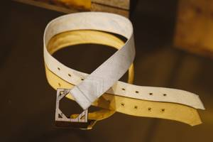 A handcrafted belt available for purchase at Retrofit Painting of Las Vegas by Thomas Willis showing at P3Studio inside the Cosmopolitan Hotel. The exhibit will run until August 9, 2015.