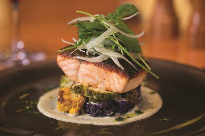 Guest columnist chef Scott Commings. Pan-seared Scottish salmon with roasted cauliflower and fennel is pictured here at Gordon Ramsay Pub & Grill in Caesars Palace.