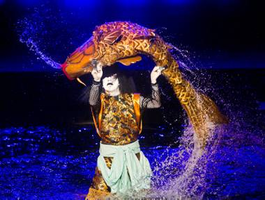 "Kabuki actor Ichikawa Somegoro fights with a giant carp during the Kabuki masterpiece Koi Tsukami or ""Fight with a Carp"" about the Fountains of Bellagio on Saturday, August 15, 2015."