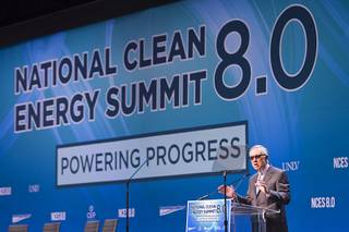 Senate Minority Leader Harry Reid (D-Nev) gives opening remarks during the National Clean Energy Summit 8.0 at the Mandalay Bay Convention Center Aug. 24, 2015.
