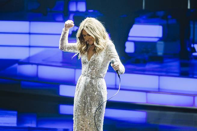 Celine Dion performs at the Colosseum on Thursday, Aug. 27, 2015, in Caesars Palace.