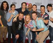 "Joey Fatone, lower left, and the cast of ""Rock of Ages"" at ""Mondays Dark"" in Vinyl at the Hard Rock Hotel. Guest columnist Dane Biren is third from right."