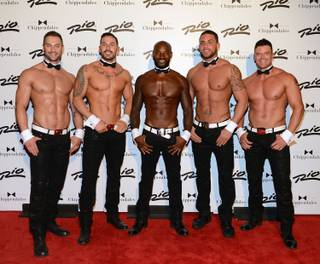 Tyson Beckford, center, returns as guest host and star in Chippendales on Friday, Aug. 28, 2015, at the Rio. From left, James Davis, Mikey Perez, Beckford, Matt Marshall and Nathan Minor.