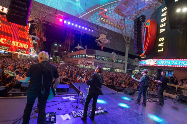 Kansas and Blue Oyster Cult perform a free concert Sunday, Sept. 6, 2015, at Fremont Street Experience in downtown Las Vegas.
