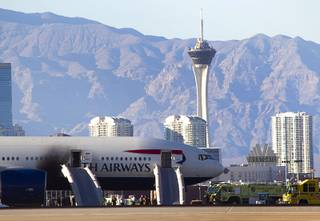 A British Airways passenger jet is shown after a fire at McCarran International Airport in Las Vegas September 8, 2015.
