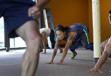 Addie Yung Mee works out during a class at World ZUU Fitness, 4985 S. Fort Apache Rd., Monday, Sept. 14, 2015. The Las Vegas venue is the first U.S. location for the animal-based fitness concept developed by Australian Nathan Helberg.