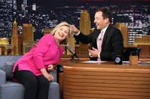 "Hillary Rodham Clinton invites host Jimmy Fallon to pull her hair during a taping of ""The Tonight Show Starring Jimmy Fallon"" on Wednesday, Sept. 16, 2015, in New York."