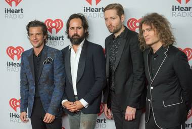 The Killers arrive at the 2015 iHeartRadio Music Festival red carpet Friday, Sept. 18, 2015, at MGM Grand Garden Arena.