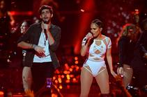 Jennifer Lopez performs with Alvaro Soler during Day 2 of the 2015 iHeartRadio Music Festival on Saturday, Sept. 19, 2015, at MGM Grand Garden Arena.