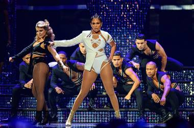 Jennifer Lopez performs during Day 2 of the 2015 iHeartRadio Music Festival on Saturday, Sept. 19, 2015, at MGM Grand Garden Arena.