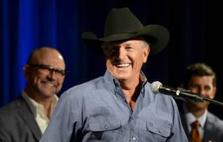 George Strait announces an exclusive engagement in Las Vegas in 2016 at a news conference Tuesday, Sept. 22, 2015, at MGM Grand. Strait will be among the first entertainers to perform at the Las Vegas Arena scheduled to open in April.
