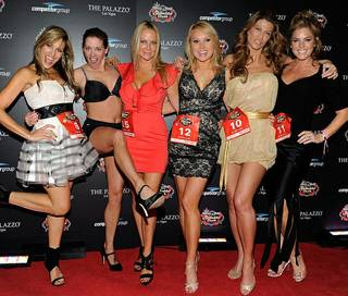 The employees of Las Vegas madam Jami Rodman, aka Haley Heston, included Olympian Suzy Favor-Hamilton, pictured here second from left at Stiletto Dash in December 2012 at Palazzo.