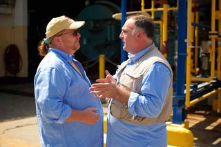 """Undiscovered: Haiti with Jose Andres."" Star chefs Mario Batali and Andres are pictured here."