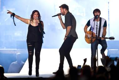 Hillary Scott, Charles Kelley and Dave Haywood of Lady Antebellum perform for the crowd on the Main Stage during the Route 91 Harvest Country Music Fest on Saturday, Oct. 3, 2015, at Las Vegas Village.
