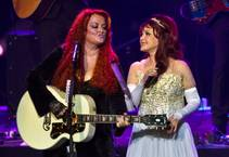 "Wynonna Judd and Naomi Judd — The Judds — perform during opening night of ""Girls Night Out,"" their nine-show run, on Wednesday, Oct. 7, 2015, at the Venetian."