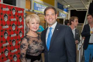 Pia Zadora and Marco Rubio attend the grand opening of Pawn Mall on Friday, Oct. 9, 2015, in Las Vegas.