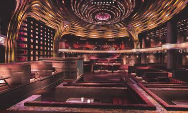 Jewel at Aria is set to host 2,000 guests in two spaces — a main club and mezzanine level with five themed VIP skybox suites. Tall, mirrored doors will welcome guests to Jewel, while VIP partygoers will walk through a tunnel of arched bronze portals.