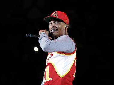 "Rapper T.I. performs Nov. 1, 2014, before the start of an NBA game between the Indiana Pacers and Atlanta Hawks in Atlanta. T.I. has changed his stage name to his childhood name of Tip, and with his new EP ""Da' Nic,"" he's gone independent, breaking away from a label for the first time."