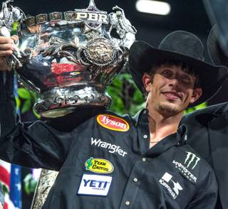 The fifth and final round of the 2015 PBR Built Ford Tough World Finals on Sunday, Oct. 25, 2015, at the Thomas & Mack Center. New 2015 world champion and $1 million bonus winner J.B. Mauney of Mooresville, N.C., is pictured here.