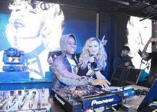 "Madonna, with DJ Lunice, hosts her ""Official Rebel Heart Tour After-Party"" at Marquee on Saturday, Oct. 24, 2015, in the Cosmopolitan of Las Vegas."