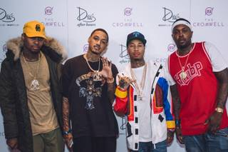 Tyga, second from right, hosts Halloween Weekend at Drai's on Friday, Oct. 30, 2015, atop the Cromwell.
