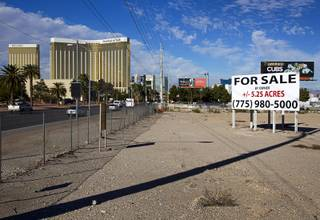 A view of land for sale on Las Vegas Boulevard South Monday, Nov. 23, 2015.