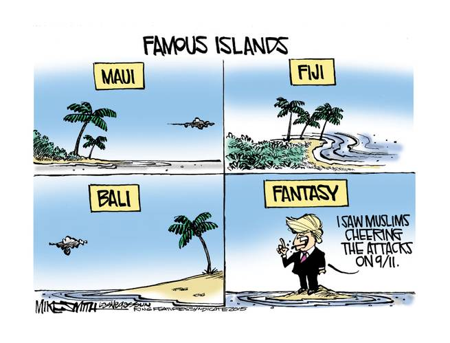 Title:  Famous Islands.  Image:  pictures of Maui, Bali, Fuji, and Fantasy, where Donald Trump stands spewing his nonsense.