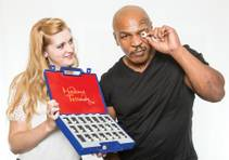 Mike Tyson picks out an eyeball to be used in his wax likeness at Madame Tussauds at the Venetian.
