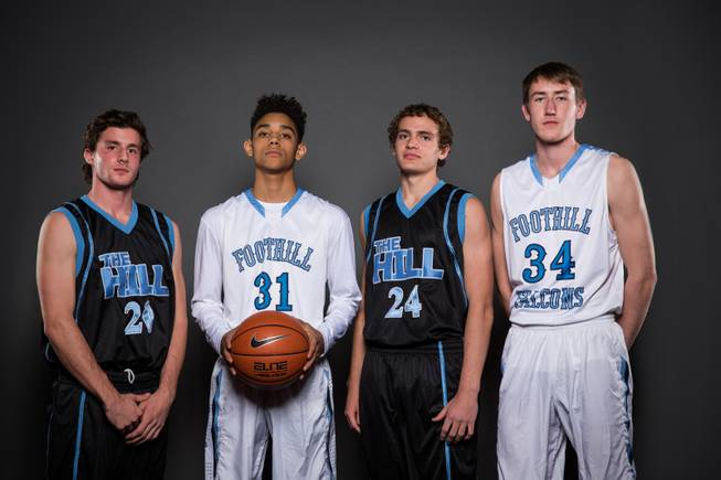 From left, Foothill's mens basketball players; Jeron Bodin, Marvin Coleman, Devon Erb and Jonny Rolle, Thursday, Nov. 12, 2015.