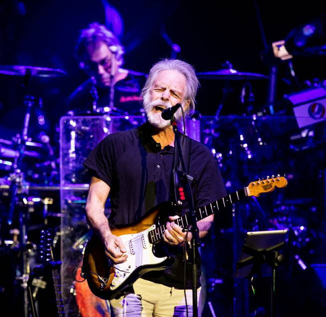 Dead & Company — Grateful Dead members Bob Weir on rhythm guitar and vocals and Mickey Hart and Bill Kreutzmann on drums; John Mayer on lead guitar and vocals; Oteil Burbridge on bass guitar; and Jeff Chimenti on keyboards — on Friday, Nov. 27, 2015, at MGM Grand Garden Arena.