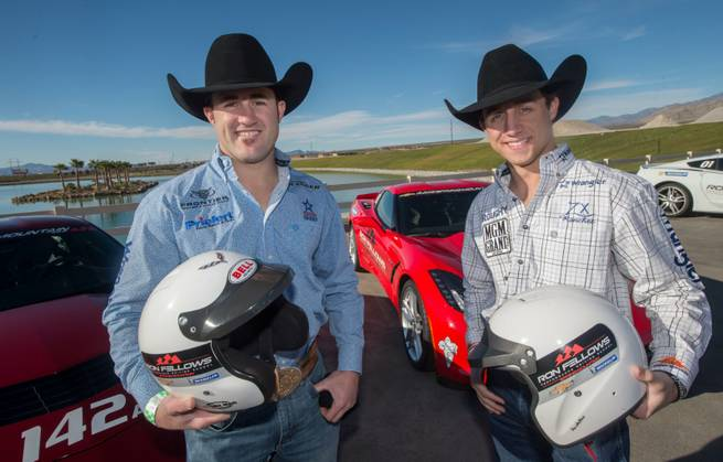 Kaycee Feild, in the blue shirt, and Sage Kimzey, in white plaid, at Ron Fellows Performance Driving School at Spring Mountain Motorsports Ranch on Sunday, Nov. 29, 2015, in Pahrump.