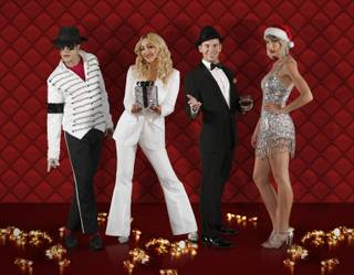 "Damian Brantley (Michael Jackson), Coty Alexander (Madonna), Brian Duprey (Frank Sinatra) and Elizabeth Scarborough (Taylor Swift) star in the ""Legends in Concert"" holiday show at Flamingo Las Vegas."