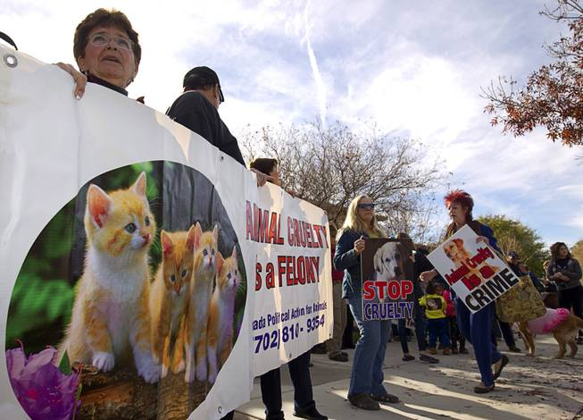 Animal Rights Activists Picket Boulder City Police Station