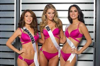 2015 Miss Honduras Iroshka Elvir, 2015 Miss USA Olivia Jordan and 2015 Miss Chile Maria-Belen Jerez Spuler are competing in 2015 Miss Universe Pageant at Planet Hollywood in Las Vegas.