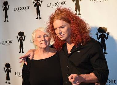 Dona Wood and her son, Carrot Top, attend the 10th anniversary celebration for Carrot Top on Sunday, Dec. 6, 2015, at Luxor.