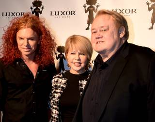 Carrot Top, Pia Zadora and Louie Anderson attend the 10th anniversary celebration for Carrot Top on Sunday, Dec. 6, 2015, at Luxor.