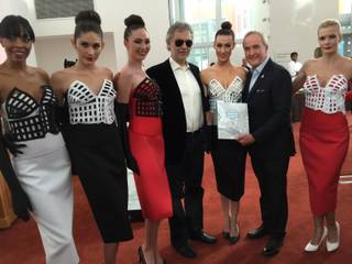 Andrea Bocelli, Larry Ruvo and models at the Cleveland Clinic Lou Ruvo Center for Brain Health on Sunday, Dec. 6, 2015, in Symphony Park downtown.