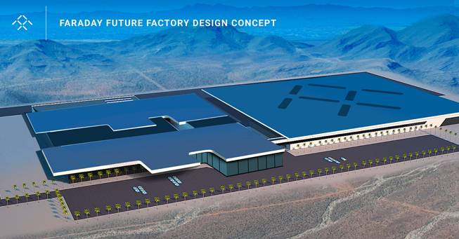 Rendering of planned Faraday Future auto plant in North Las Vegas.