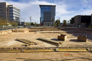 A view of the construction site for the Nevada Court of Appeals building on Clark Avenue between Fourth Street and Las Vegas Boulevard in downtown Las Vegas, Sunday Dec. 13, 2015. The Federal Justice Tower, an 11-story office building under construction, is shone in the background.