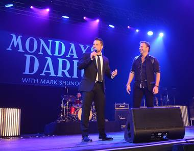 "Mark Shunock and James Mulligan during the second anniversary of ""Mondays Dark"" at the Joint on Monday, Dec. 14, 2015, in the Hard Rock Hotel."