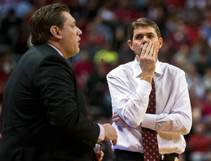 UNLV head coach Dave Rice is dismayed by another foul call versus Arizona State on Wednesday, Dec. 16, 2015, at the Thomas & Mack Center.