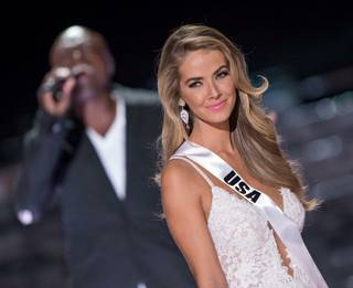 Seal serenades 2015 Miss USA Olivia Jordan during the final walk for the Top Three at the 2015 Miss Universe Pageant on Sunday, Dec. 20, 2015, at Axis at Planet Hollywood.
