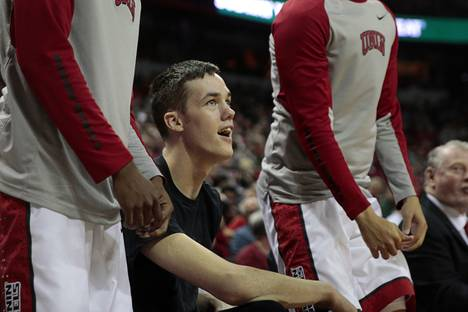 UNLV forward Stephen Zimmerman Jr. (33) watches from the bench during a game against South Dakota at the Thomas & Mack Center Tuesday, Dec. 22, 2015.