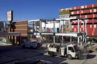 Construction continues at Turmeric Flavors of India restaurant at Fremont and Seventh streets Wednesday, Dec. 23, 2015. The 6,000-square-foot. restaurant, including an outdoor second-floor dining area, is expected to open in the summer of 2016, said owner Rajesh Patel.