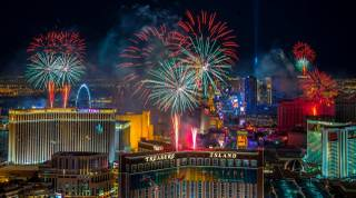 New Year's Eve fireworks, as seen from atop Trump Tower, explode over the Las Vegas Strip just after midnight Friday, Jan. 1, 2016.